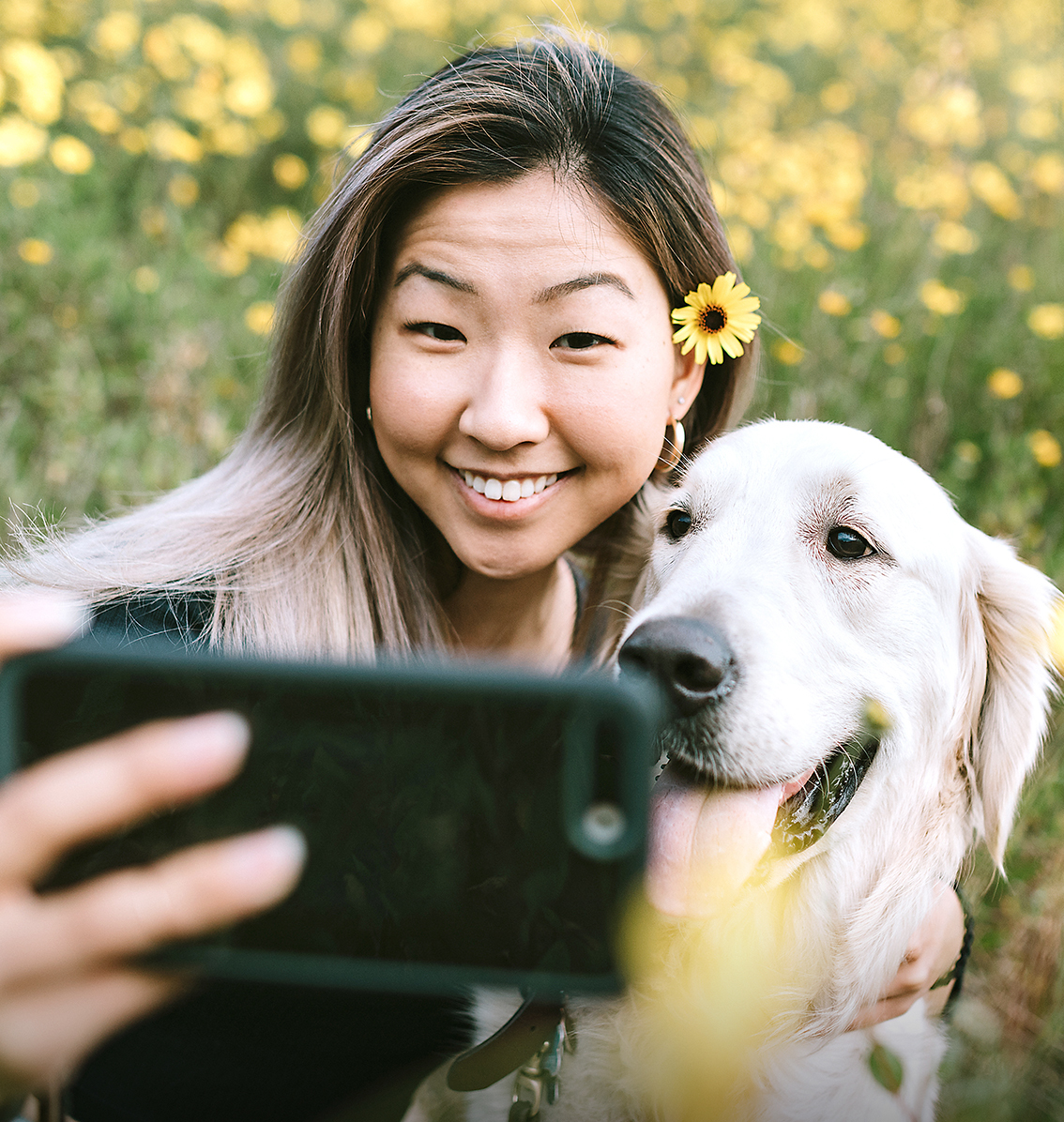 woman taking a photo with a golden retriever in a field
