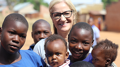 Lisa Jenkins, a Manufacturing Coordinator from CooperVision UK manufacturing facility, in Uganda as the Optometry Giving Sight ambassador