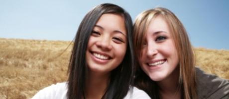 teenage girls smiling