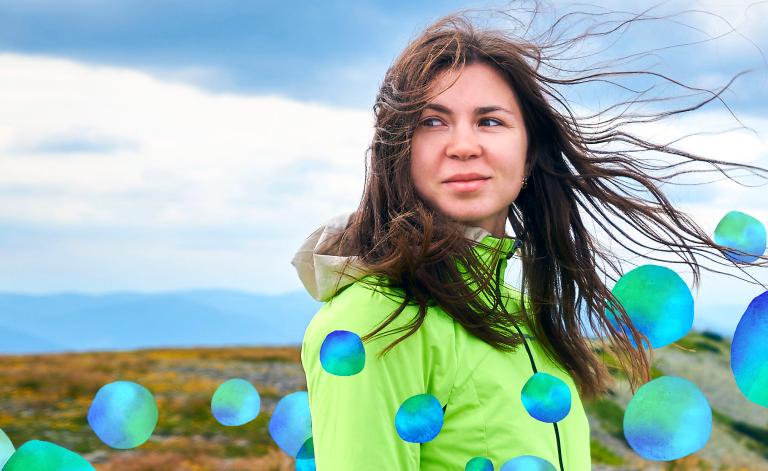 woman outside in windy weather